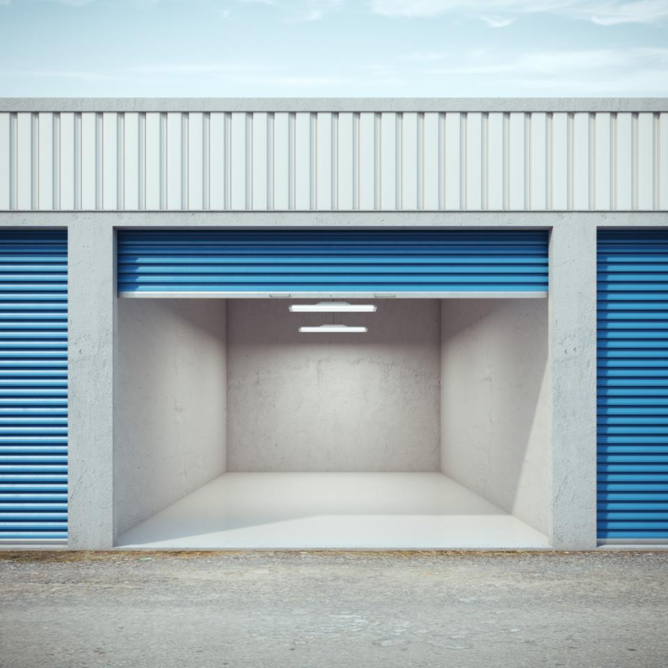 the inside of an empty storage unit